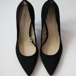 Guess Black Pointy Toe Laser Cut Heels - Size 7